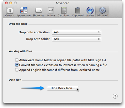 LaunchBar's Advanced preferences panel featuring a button to 'Hide Dock Icon…'