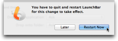 LaunchBar's dialog sheet to inform the user that a restart of the application is required