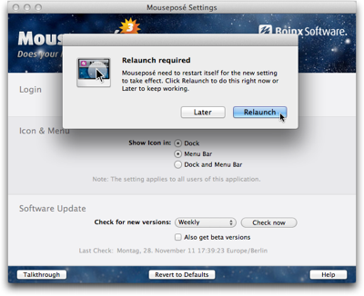 Dialog box displayed in front of Mouseposé's preferences window, and stating that a restart is required for a settings change to take effect