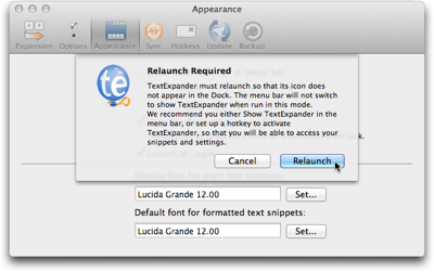 Dialog sheet explaining that TextExpander needs to be restarted for a settings change to take effect