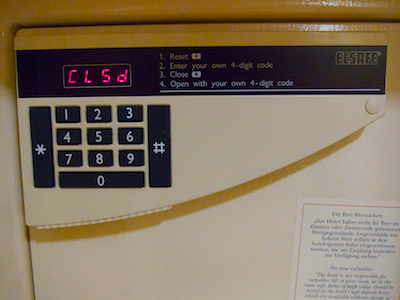 Another safe's front view, showing a differently laid-out number pad