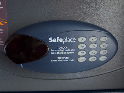 Close up of the hotel safe's keypad and display