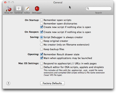 A preferences panel from Late Night Software's Script Debugger, showing checkboxes and radio buttons to select options