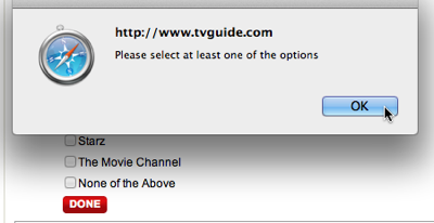 Error dialog box stating to select at least one option from the premium TV channels checkbox list.