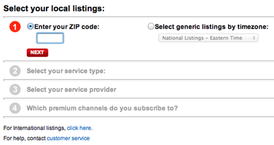 Form from the TV Guide website for selecting your location and TV provider in four steps