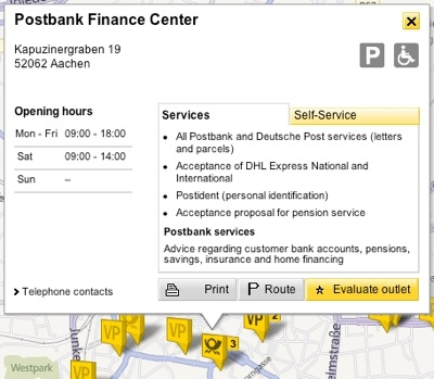 Map view of Post's online branch finder, displaying a branch's details like opening times, etc.,