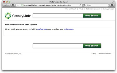 Changes you make to your CenturyLink settings are confirmed after you click Save