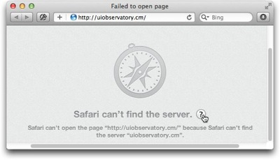 Safari displaying an error message that it cannot open a web page because it cannot find the corresponding web server