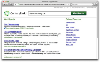 CenturyLink's could-not-find-web-server window offers a prominent search field and a list of search-based suggestions, but lacks an explicit error message