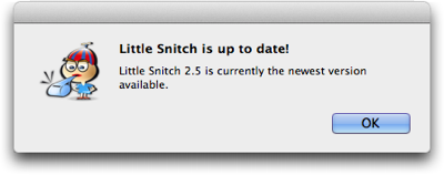 A standard OS X dialog box, stating that the application Little Snitch is up to date