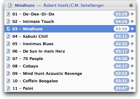 List of song titles displayed by LaunchBar after