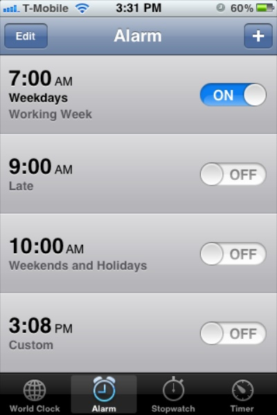 List of alarms in the Clock app on an iPhone