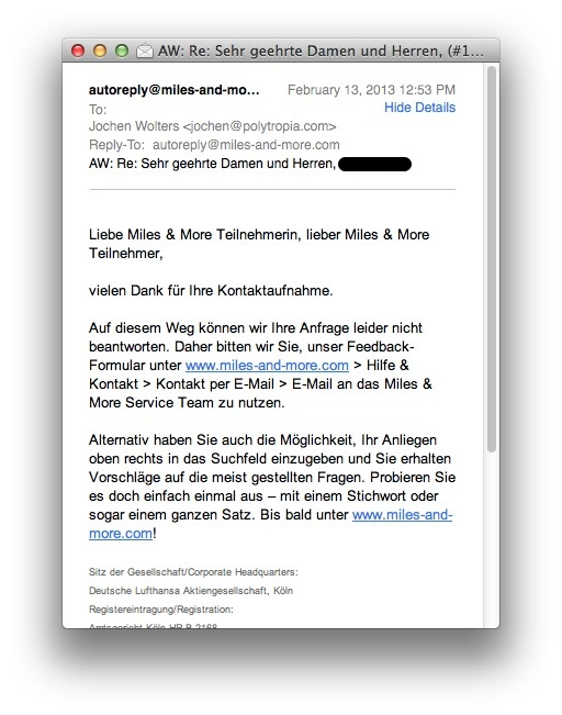 A Mail.app window with Lufthansa's response to my email inquiry.