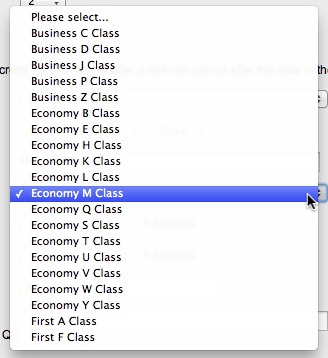 The booking class menu contains five items for business class, thirteen for economy, and two for first, but none of these are of type G.