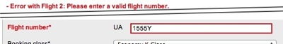 The error message reads, 'Error with flight 2: Please enter a valid flight number'. The flight number field with the offending Y character is highlighted.