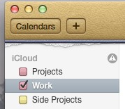 The hazard triangle icon appears on the same line as the 'iCloud' group header, and sits at the right edge of that line.