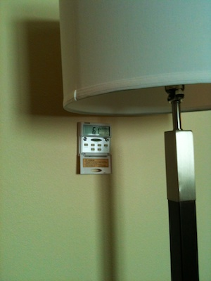 The old-fashioned wall thermostat, ironically, has a less user-friendly user interface than the non-functional controls on the A/C unit.