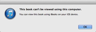 The warning dialog box states that 'This book can't be viewed using this computer. You can view this book using iBooks on your iOS device.'