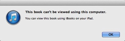 At first sight, this dialog box looks identical to the previous one. Its second sentence, however, ends in 'using iBooks _on your iPad_.'