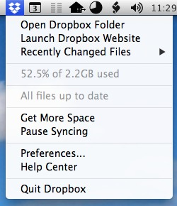 The original Dropbox menu item looks and feels exactly like a regular OS X menu. It offers commands like opening the Dropbox folder or launching the Dropbox website, but also contains staple items like Preferences or Quit, since this actually is Dropbox's only application menu.
