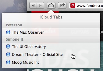 The iCloud Tabs menu looks and behaves more like an iOS menu than a standard OS X menu.