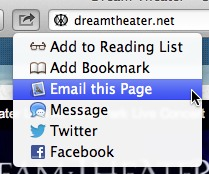 The Share menu lets you add a URL to the Reading List, bookmark it, email it, send it as an iMessage, tweet it, or share it via Facebook. And it is the one of the four Safari menus that behaves exactly like a regular OS X menu.