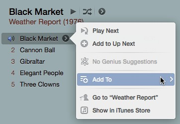 The new iTunes context menu's appearance is very similar to that of an iOS menu.