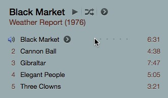 The 'greater than' icon for the new context menu appears only for the track that the mouse pointer hovers over. The same applies to the five dots that represent the track's rating until you have actually given the track one to five stars.