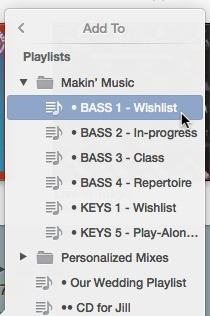 Folders in the Playlist sub-menu group tracks. Just like their counterparts in the Finder, they can be opened and closed by clicking on them.