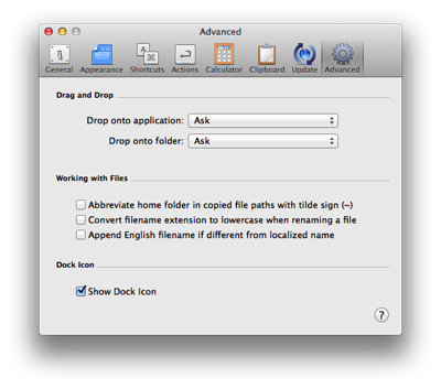 LaunchBar's Advanced preferences panel with Show Dock Icon checkbox.