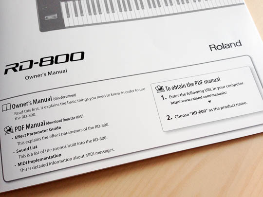 The front page of the printed manual that shipped with the piano. Instructions for downloading additional PDF manuals appears on its front page.