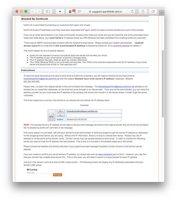 The EarthLink page provides detailed information, starting with a
