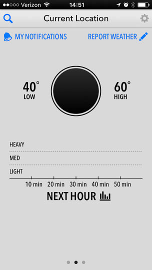 The app's circle that usually displays the current temperature for the selected location is empty, i.e., just a simple black disk. To its left, the