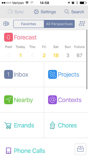 In OmniFocus, the progress spinner appears right inside the _Sync_ button. This is pretty neat, because the app automatically synchronizes its data regularly. A progress animation that appeared on the screen during each sync process, that could become extremely distracting.