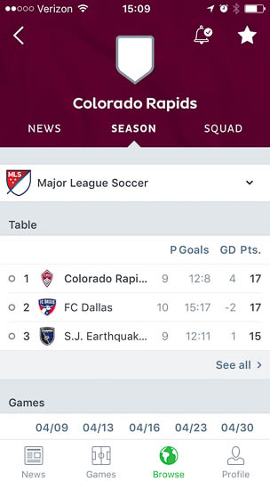 The _Season_ page for the Colorado Rapids shows an overview table with three items, to top one of which are the Rapids. A button to _See all_ below the table is actually functional despite the lack of connectivity, so you can at least check the standing as they were before going offline.