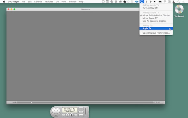 The Mac's desktop, showing the DVD Player video window with all the controls, like timeline, playback control buttons, etc. In this case, though, since AirPlay is activated, there is just a even gray rectangle in the window instead of the video signal from the DVD.