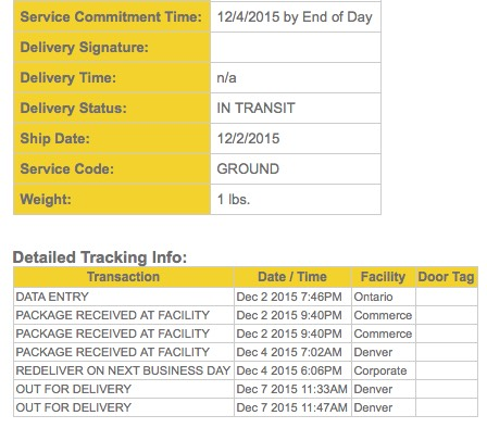 This tracking page is similar to the previous one, but it is for a different order. In this case, the shipment was due on December 4th, 2015, also