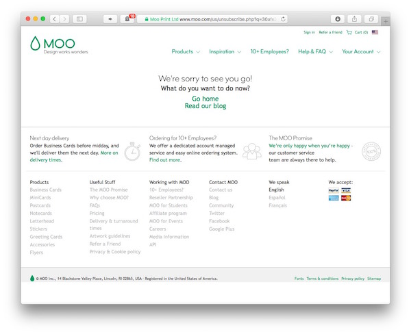 Showing the same plethora of navigation options and marketing texts as on the previous page, Moo is now