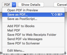 An excerpt from a print dialog shows the menu attached to the popup menu control labeled PDF. The menu's top aligns exactly with the controls bottom. More importantly, a down-ward arrow in the menu control makes it very clear that this is, in fact, a popup menu, and not a simple button.