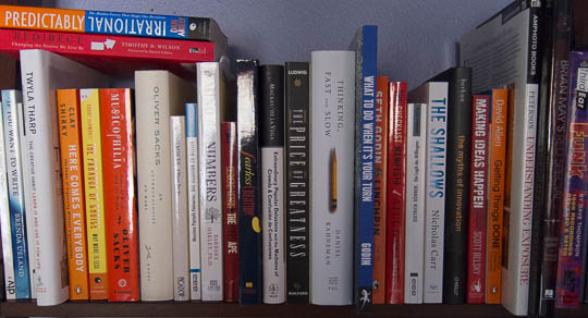 Some of the books on my shelves, showing titles related to cognitive psychology and creativity